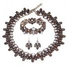 Zhenhui Faux Shell Choker Necklace Drop Earrings Stretchy Bracelet 3 Pieces Set Prom Crystal Jewelry Sets for Women