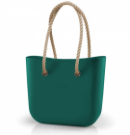 O bag classic in petrol green with natural long rope handles