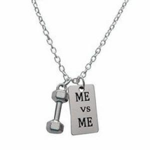 Antiqe silver alloy can lift weights with dumbbells fitness gym crossfit necklaces