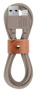 Native Union BELT Cable - 4ft Ultra-Strong Kevlar Reinforced Lightning Cable with Leather Strap -Taupe