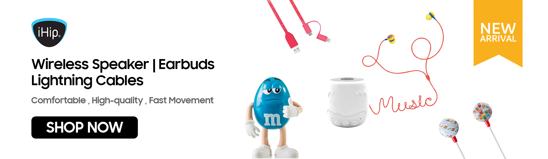 iHip Products | Wireless Speaker | Earbuds | Lightning Cables